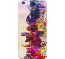 Valencia skyline in watercolor background iPhone Case/Skin