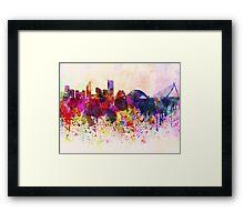 Valencia skyline in watercolor background Framed Print