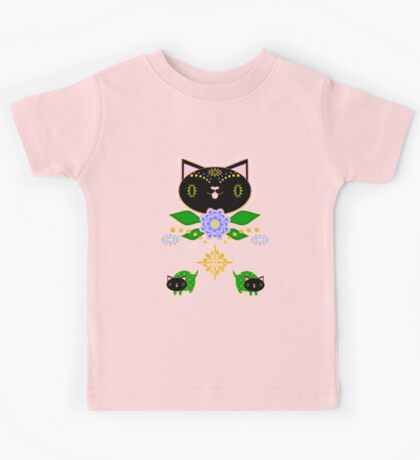 Black Kitten Symmetry on pink Kids Tee