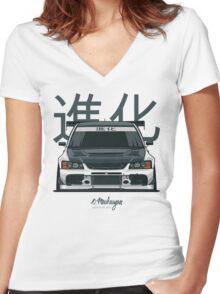 Lancer Evo IX (white) Women's Fitted V-Neck T-Shirt