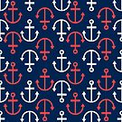 White and coral-red nautical boat anchors by artonwear