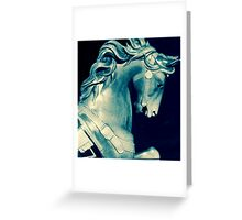 carousel pony in blue Greeting Card