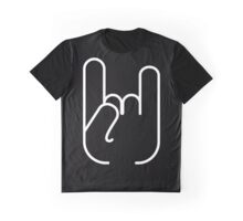 White Rock'n'roll symbol in the black square Graphic T-Shirt