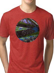 Peacock Mermaid Midnight Abstract Geometric Tri-blend T-Shirt