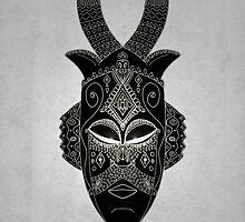 Horned tribal mask by barruf