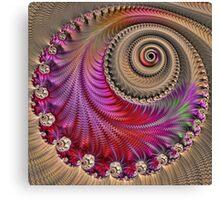 Pink Spiral - Fractal Art - Square  Canvas Print