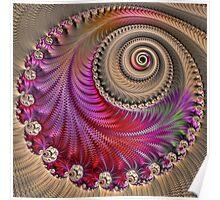 Pink Spiral - Fractal Art - Square  Poster