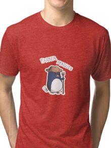 Farmer Penguin- Contrast Tri-blend T-Shirt