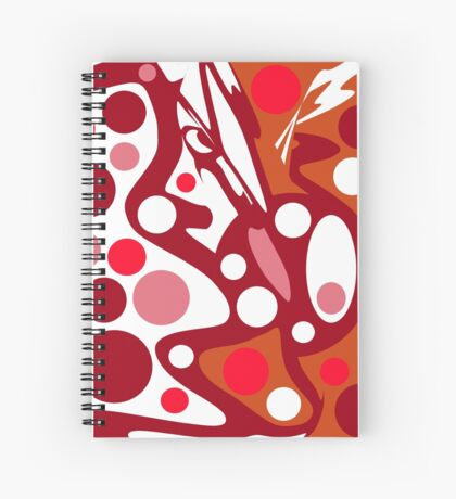 Red and white abstract decor Spiral Notebook
