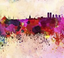 Istanbul skyline in watercolor background by paulrommer