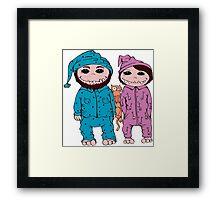 Boy, girl and cat Framed Print