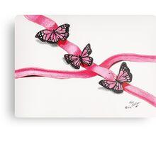 Pink Butterflies on Ribbon Metal Print