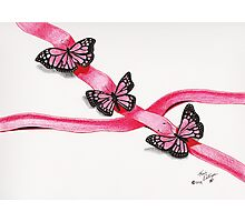 Pink Butterflies on Ribbon Photographic Print