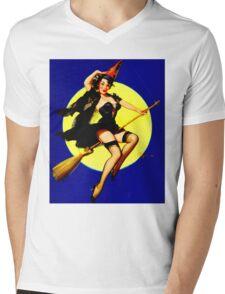 """HALLOWEEN WITCH"" Vintage Elvgren Pinup Print Mens V-Neck T-Shirt"