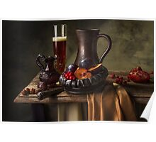 Still Life with Beer, Cranberries, Plums & Pomegranate Poster