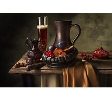 Still Life with Beer, Cranberries, Plums & Pomegranate Photographic Print