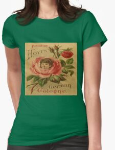 Vintage,rustic,grunge,rose,cute,poster,art nouveau,old commercial for perfume Womens Fitted T-Shirt