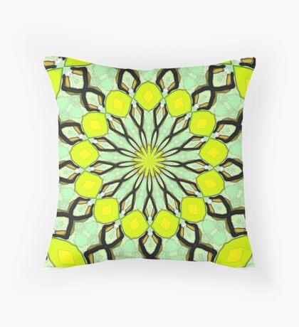 Yellow Kaleidoscope Throw Pillow