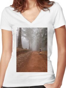 UP CLOSE: THE  BICYCLE MAN AND THE LANTERN Women's Fitted V-Neck T-Shirt