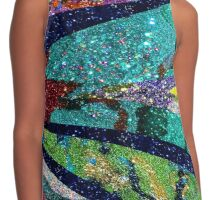 Peacock Mermaid Lavender Abstract Geometric Contrast Tank