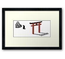 The Last ninja prayer on white Background Framed Print
