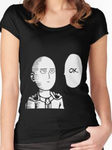 One Punch Man Saitama Oppai Cosplay Japan Anime T Shirt Women's Fitted Scoop T-Shirt