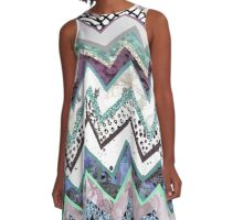 Sea Green Blue Aztec Pattern A-Line Dress