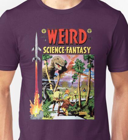 Weird Science Fiction Dinosaur, rockets, pulp fiction Unisex T-Shirt