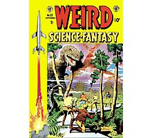 Weird Science Fiction Dinosaur, rockets, pulp fiction Photographic Print