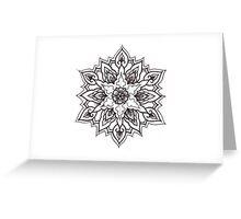 Traditional Mandala Flash Black and White Greeting Card