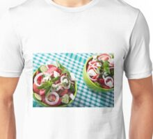 Top view of two bowls useful vegetarian meal closeup Unisex T-Shirt