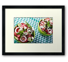 Top view of two bowls useful vegetarian meal closeup Framed Print