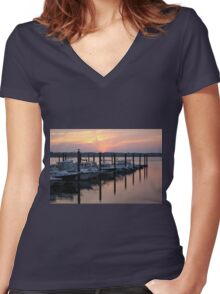 Belmar Marina Sunset Women's Fitted V-Neck T-Shirt