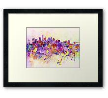 New York skyline in watercolor background Framed Print