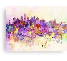 New York skyline in watercolor background Metal Print