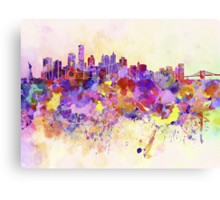 New York skyline in watercolor background Canvas Print