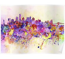 New York skyline in watercolor background Poster