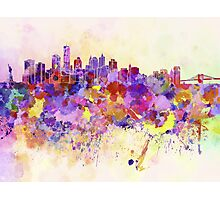 New York skyline in watercolor background Photographic Print