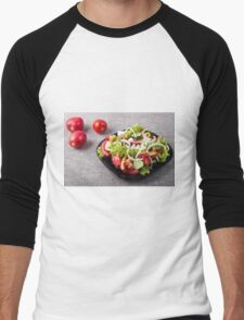 Small bowl of salad made from natural raw vegetables Men's Baseball ¾ T-Shirt