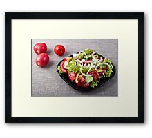 Small bowl of salad made from natural raw vegetables Framed Print