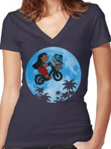 Stitch Phone Home Women's Fitted V-Neck T-Shirt
