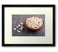 Selective focus on at the tasty and healthy raw cashew nuts Framed Print