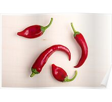 Top view of hot chili peppers Poster