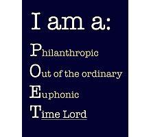 I am A POET.  Photographic Print