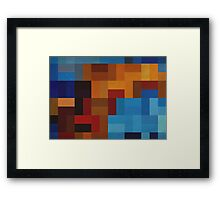 Abstraction #073 Blue and Gold Blocks Framed Print