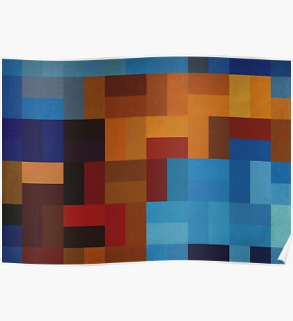 Abstraction #073 Blue and Gold Blocks Poster