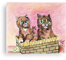Two Orange Kittens in a Basket Canvas Print