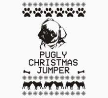 Pugly Christmas Jumper (Black) One Piece - Short Sleeve