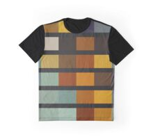 Abstraction #075 Blue Gold Black Blocks and Bars Graphic T-Shirt