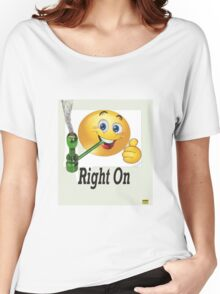 smiley face smokes pot too Women's Relaxed Fit T-Shirt